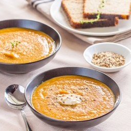 Carrot and Sweet Potato Soup with Hazelnut Dukkah
