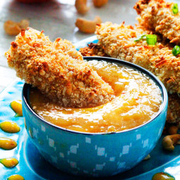 Cashew Coconut Crusted Chicken Tenders with Mango Honey Dip
