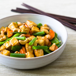 Cashew, Tofu, Carrots, and Snow Pea Stir-Fry