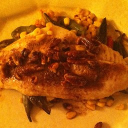 Catfish with Roasted Vegetables and Pecan Butter Sauce