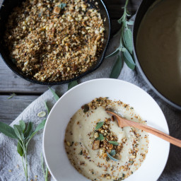 Cauliflower Leek Soup with Sage and Pine nut Crumble