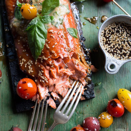 Cedar Plank Grilled Sesame Salmon with Kimchi Miso Butter and Grilled Tomat