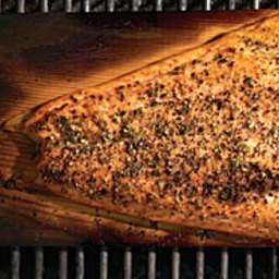 Cedar-Planked Salmon with Lemon-Pepper Rub and Horseradish-Chive Sauce