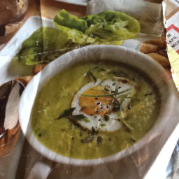 Celery, leek and asparagus creamed soup with poached egg