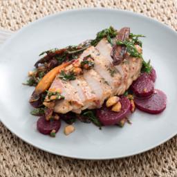 Center-Cut Pork Chopswith Warm Beet, Carrot and Hazelnut Salad