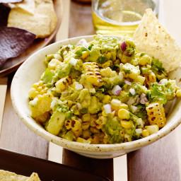 Charred Corn Guacamole with Corn Chips