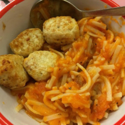 Cheesy Chicken Balls with Pasta (eggless)
