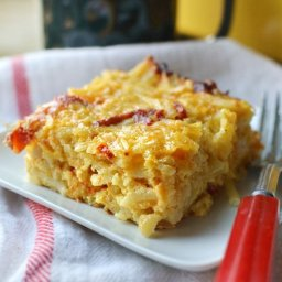 Cheesy Potato Breakfast Casserole with Cheddar and Sun-Dried Tomatoes