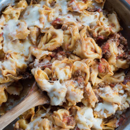 Cheesy Skillet Tortellini with Meat Sauce