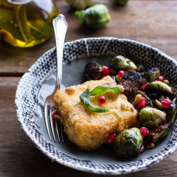 Cheesy Fried Polenta w/Pan Roasted Balsamic Brussels Sprouts + Roasted Garl