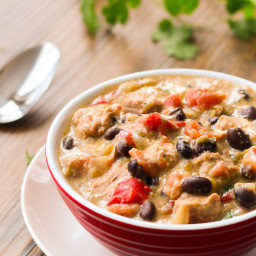 Cheesy, Pork Guiso Verde with Black Beans and Red Pepper