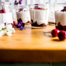 Cherry and Goats Milk Coconut Mousse.