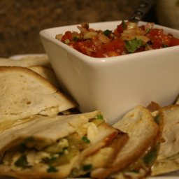 Chicken and Brie Quesadillas with Chipotle Salsa