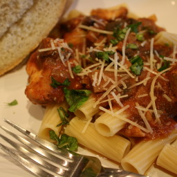 Chicken and Mushrooms in Wine Sauce