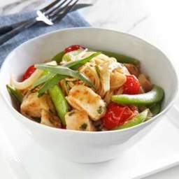 Chicken and Snap Pea Stir-Fry over Angel Hair Pasta