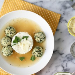 Chicken and Spinach Meatballs with Rice in Broth