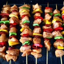 Chicken & chorizo kebabs