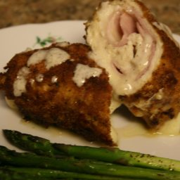 Chicken Cordon Bleu with White Wine Sauce