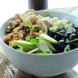 Chicken Feta Walnut Grape Chopped Salad with Balsamic Vinaigrette