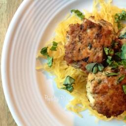 Chicken Florentine Meatballs with Spaghetti Squash