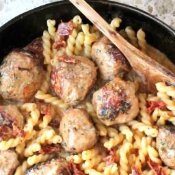 Chicken Meatballs with Creamy Sun-Dried Tomato Sauce
