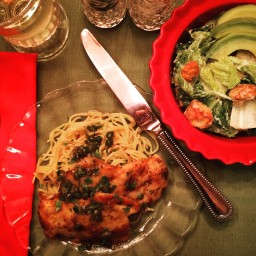 Chicken Piccata, Angel Hair Pasta & Caesar Salad w Avocado & Garlic Crouton