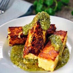 Chicken Polenta Sticks with Tomatillo Salsa Verde