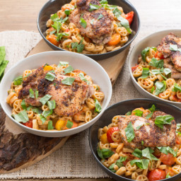 Chicken Thighs and Wheelies Pastawith Summer Tomato Sauce