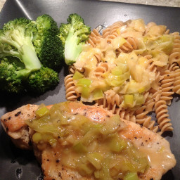 Chicken with leeks and beer sauce