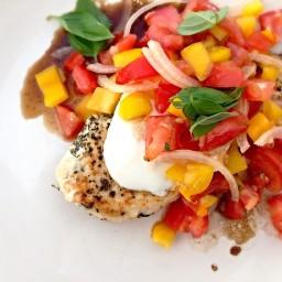 chicken with mozzarella caprese salad