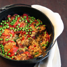 Chicken With Roasted Red Pepper, Chorizo And Sweet Pea Sauce Over Rice