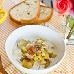 Chicken and Corn Chowder with Roasted Potato