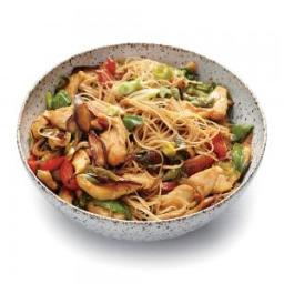 Chicken and Rice Noodle Stir-Fry with Ginger and Basil