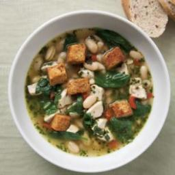 Chicken and Spinach Soup with Fresh Pesto
