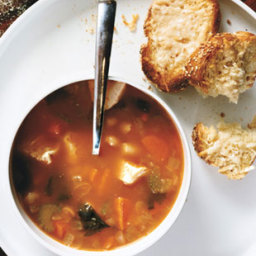 Chicken and White Bean Soup with Herb Swirl
