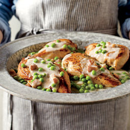 Chicken Breast with Pancetta Cream and Peas