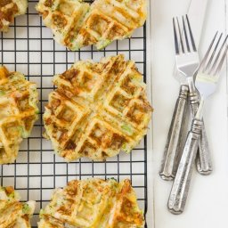 Chicken, broccoli and cheddar potato waffles