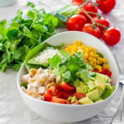 Chicken Spinach Salad with Avocado Cilantro Dressing