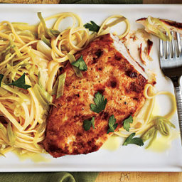Chicken with Lemon-Leek Linguine