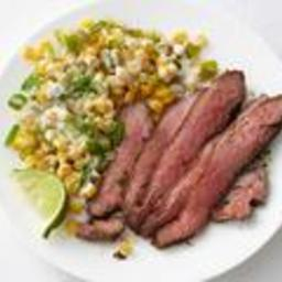 Chile-Rubbed Steak with Creamed Corn