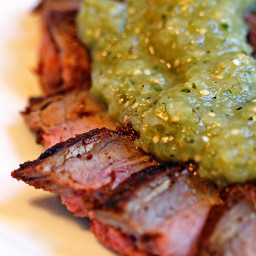 Chili Lime Rubbed Grilled Flank with Tomatillo Salsa