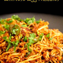 Chinese egg noodles street food
