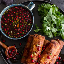 Chinese Chicken and Brussels Sprouts Egg Rolls with Sweet Chile Pomegranate