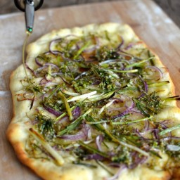 Chive Flowers Two Ways: Chive Flower Flatbread