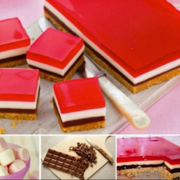 Choc mallow jelly slice