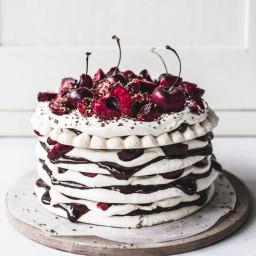 Chocolate and Cherry Meringue Stack Cake {gluten-free}