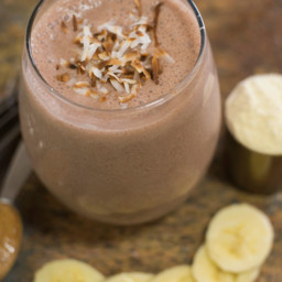 Chocolate Banana Coconut Protein Smoothie