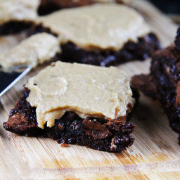 Chocolate Butterfinger Brownies with Peanut Butter Frosting
