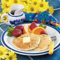 Chocolate Chip Pancakes with Cinnamon Honey Syrup Recipe