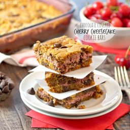 Chocolate Covered Cherry Cheesecake Cookie Bars
